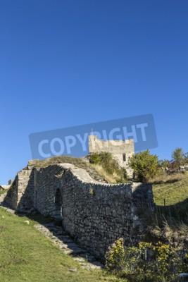 Fototapete Zitadelle Vauban in Seyne les Alpes in der französischen Region provence des haut alpes unter blauem Himmel