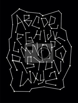 Zodiac constellation font. Vector alphabet