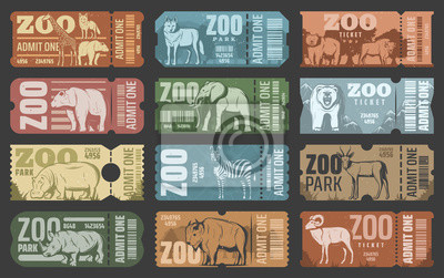 Fototapete Zoo park tickets with african and forest animals