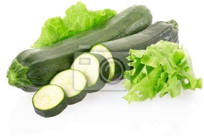 Zucchini oder Zucchini mit Salat, Clipping-Pfad