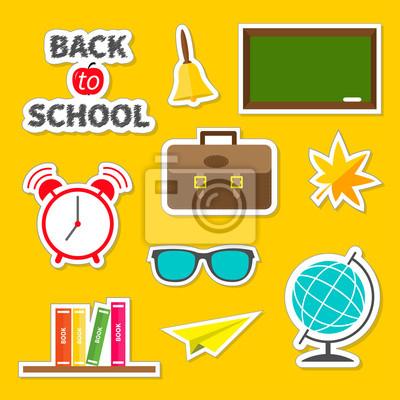 Zurück zu Schule-Icon-Set Grün Pension, Glocke, Wecker, Weltkugel, Gläser, Buchregal, Origami Papierflugzeug, Schultasche Aktentasche, Ahornblatt. Aufkleber Sammlung Flache Bauweise