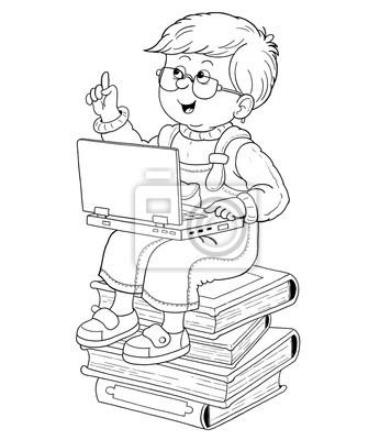 Zurück zur schule. malbuch. malvorlage. nette und lustige ...