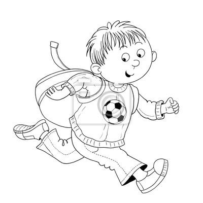 Zurück zur schule. malvorlage. illustration für kinder. fototapete ...