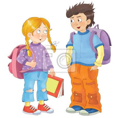 Zurück zur schule. nette schulkinder bereit für die schule ...