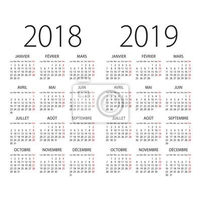 Zusammenfassung 2017 Und 2018 Französisch Vektor Kalender Fototapete