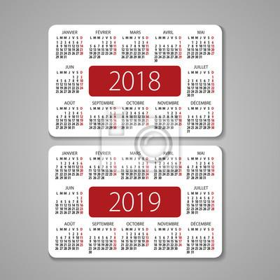 Zusammenfassung 2017 Und 2018 Französisch Vektor Taschenkalender
