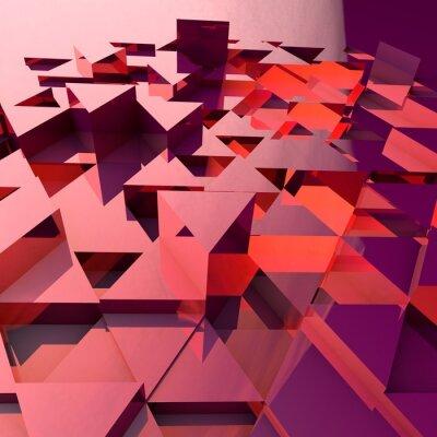 Fototapete Zusammenfassung 3d Hintergrund mit roten polygonalen Dreiecke.