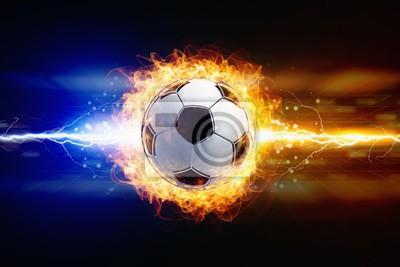 Zusammenfassung Fußball Hintergrund - helle kraftvolle Blitze Streik brennenden Fußball
