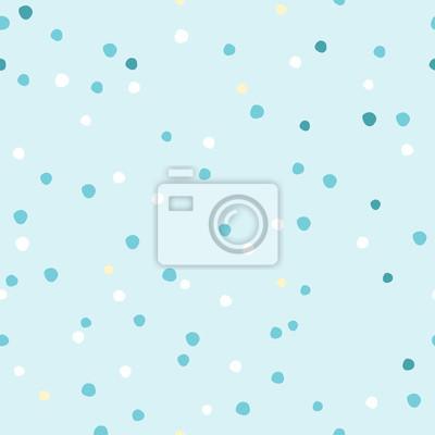 Zusammenfassung Hand zeichnen Polka Dot Zahlen nahtlose Muster. Vintage Vektor Hintergrund blaue Farbe. Minimalistische Hintergrund