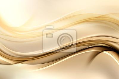 Fototapete Zusammenfassung Hintergrund mit Gold-Linien und Wellen. Zusammensetzung der Schatten und Lichter