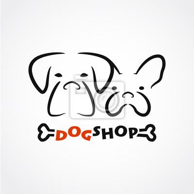 Zusammenfassung Hund Shop Logo Mit Niedlichen Hund Köpfe Knochen