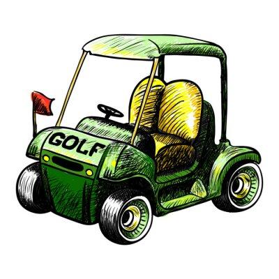 Fototapete Zusammenfassung isolierte Vektor Golf-Cart. Linienfarbe Vektor-Skizze