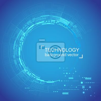 Zusammenfassung Kreis Technologie Blau Hintergrund Digitales