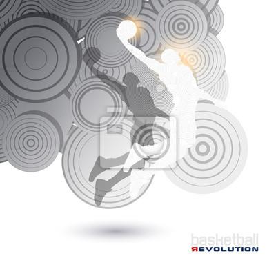 Zusammenfassung Moderne Basketball-Spieler Silhouette Basketball Revoluti