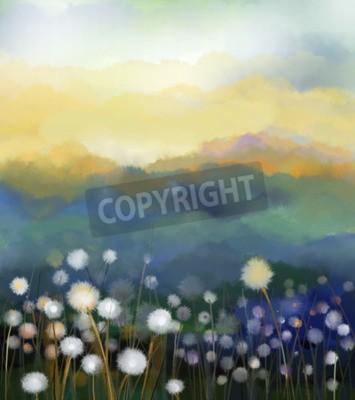 Fototapete Zusammenfassung Ölgemälde weißen Blumen Feld in weichen Farben. Öl-Gemälde weißen Löwenzahn Blume auf den Wiesen. Frühling floral saisonale Natur mit blau - grünen Hügel im Hintergrund.