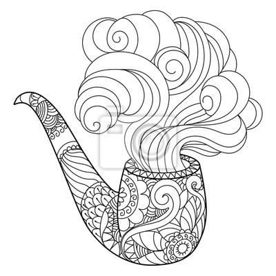 Zusammenfassung Rauchen Rohr Färbung Buch Vektor