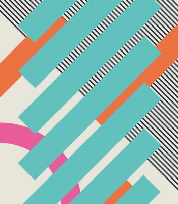 Fototapete Zusammenfassung retro 80s Hintergrund mit geometrischen Formen und Muster. Materialgestaltung.