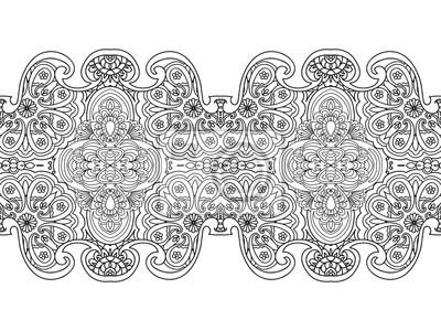 Zusammenfassung seamless floral grenze malvorlage isoliert auf ...