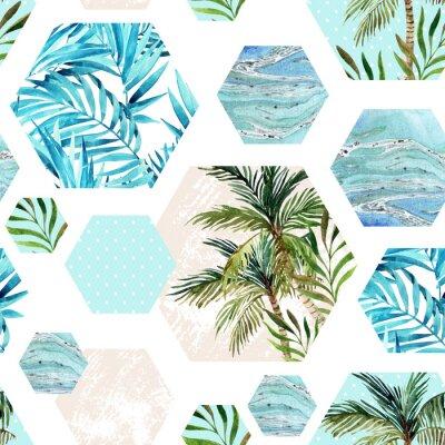 Fototapete Zusammenfassung Sommer geometrischen Sechseck Formen nahtlose Muster