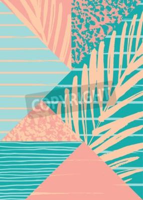 Fototapete Zusammenfassung Sommer Zusammensetzung mit Hand gezeichnet Vintage Textur und geometrische Elemente. Vector Vorlage für Poster, Cover, Karten-Design und andere Benutzer.