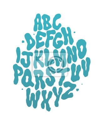 Zusammenfassung Wasser Schriftart. Vector alphabet