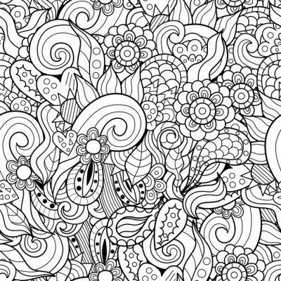 Zusammenfassung Wellen und Blumen von Hand gezeichnet nahtlose Muster. Schwarz-Weiß-Doodles Vektor-Textur