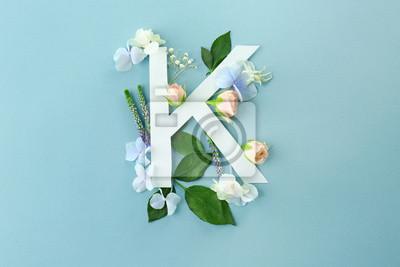 Zusammensetzung mit Buchstaben K und schönen Blumen auf Farbhintergrund