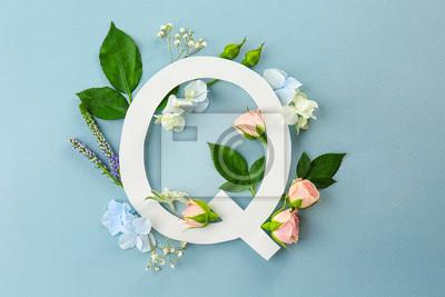 Zusammensetzung mit Buchstaben Q und schönen Blumen auf Farbhintergrund