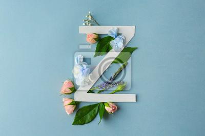 Zusammensetzung mit Buchstaben Z und schönen Blumen auf Farbhintergrund