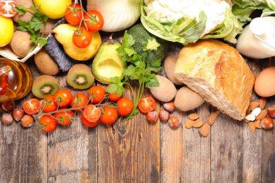 Fototapete Zusammensetzung mit Diät und gesunde Ernährung