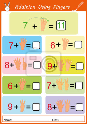 Zusätzlich mit den fingern, mathe arbeitsblatt für kinder fototapete ...