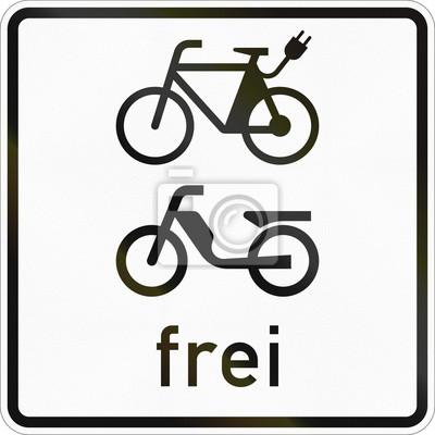 Zusätzliche Straßenschild in Deutschland verwendet - E-Bikes und Mopeds erlaubt