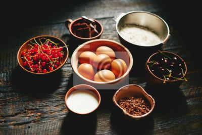Fototapete Zutaten Für Obst Und Schokolade Kuchen Holz Hintergrund