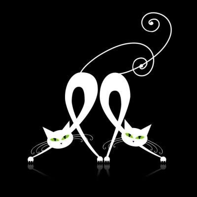 Zwei anmutigen weißen Katzen, Silhouette für Ihr Design