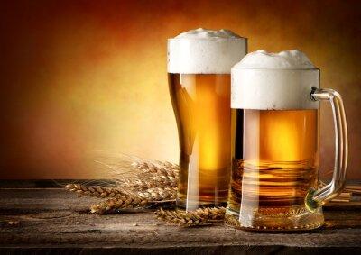Fototapete Zwei Becher Bier