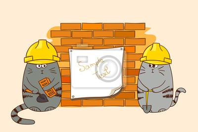 Zwei Comic Katzen Bauer An Der Backsteinmauer Lustige Bauarbeiter