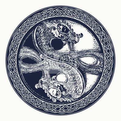 Zwei drachen im keltischen stil, tattoo. schwarz-weiß-drache ...