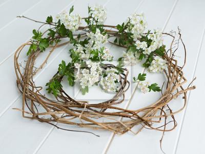 Zwei efeu kränze mit weißdorn blüte auf weißem holz hintergrund ...