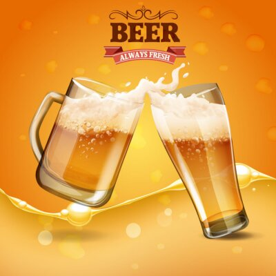 Fototapete zwei Glas Bier