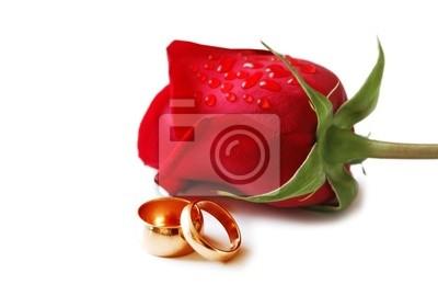 Zwei Goldene Hochzeit Ringe Und Eine Rote Rose Fototapete