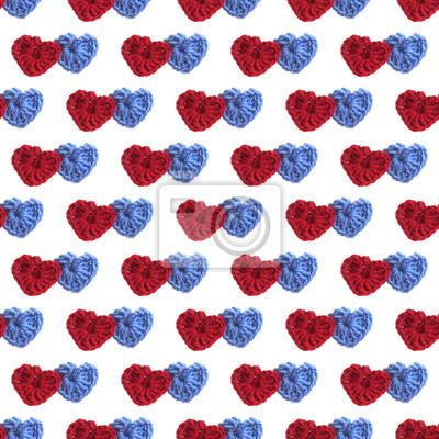 Zwei hand gemacht häkeln stricken red heart und blue heart auf ...