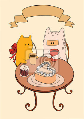 Zwei Katzen trinken Kaffee am Tisch
