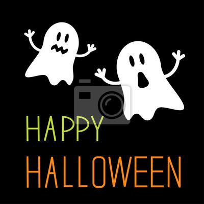 Zwei lustige Halloween Geister. Karte.