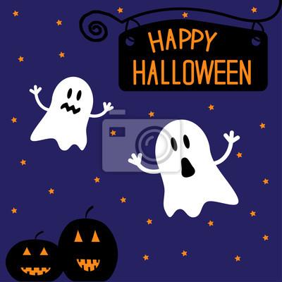 Zwei lustige Halloween Geister und Kürbisse. Starry Nacht. Karte.