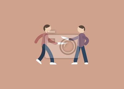 Zwei Menschen kämpfen mit Messer