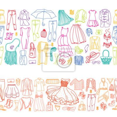Zwei nahtlose Grenzen von Vektor-Sets von verschiedenen Frauen Kleidung und Accessoires, von Unterwäsche bis Oberbekleidung. Art und Weisegekritzelansammlung.