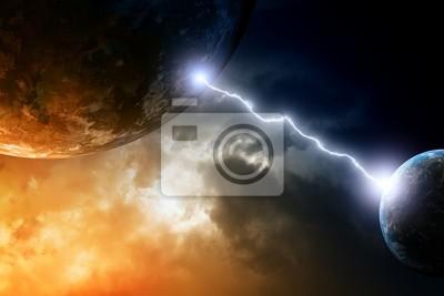 Zwei Planeten im Weltraum