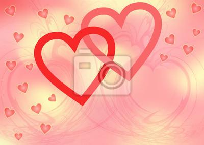 Zwei Rote Ineinander Verschlungene Herzen Auf Rosa Gelbem Muster