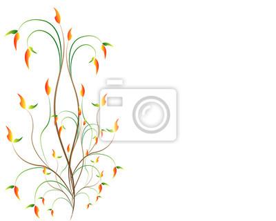 Zweig mit Blättern mit Platz für Text