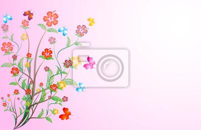 Zweig mit schönen Blumen auf rosa Hintergrund